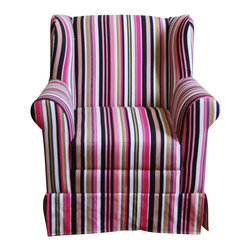 4D Concepts - 4D Concepts Girls Wingback Chair -Striped in Multi Colored - This wingback chair will brighten any kids room. The chair is crafted with a Poly Cotton blend upholstery for durable wear and easy clean. The chairs frame is crafted with composite wood and filled with polyfoam. The beautifully crafted rolled arms with a decorative skirt add elegance to this kids chair. Constructed of wood and fabric. Clean with non abrasive cloth. Comes fully assembled.
