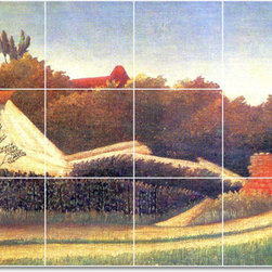 Picture-Tiles, LLC - Sawmill Surrounding Of Paris Tile Mural By Jean Jacques Rousseau - * MURAL SIZE: 18x36 inch tile mural using (18) 6x6 ceramic tiles-satin finish.