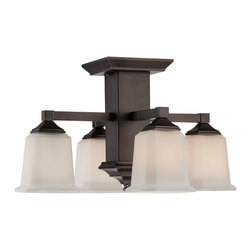 Quoizel - Quoizel Harbor Bronze Semi-Flush Mts. - SKU: QF1213SHO - Quoizel fixtures come in a variety of styles, finishes and materials to suit any home decor. Choose from fabric, metal or even one of our Quoizel Naturals shades, with bamboo, onyx or agate stone, to name a few. Look to our fixtures to add the finishing touch to your home's style.