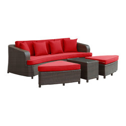 Modway - Monterey Sofa Set EEI-992 Brown Red - Sofas were never meant to stand alone. The fact that they often reside without ottoman or table, is a mimicry against true comfort and relaxation. Monterey reminds us that the sofa experience should be a lesson in arrangements, not solitude and empty spaces. With two rounded triangular ottomans, and a cozy little coffee table, Monterey naturally blends leisure together with steady repose. A set made for the outdoors, the cushions and synthetic rattan base are built to withstand all weather conditions.