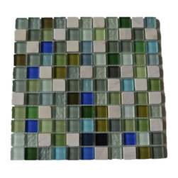 "GlassTileStore - Koi Pond Glass and Stone Tiles - Koi Pond Glass and Stone Tiles             Add a bursts of color to any room with this beautiful glass tile with a mixture of bright polished and textured glass, with a mixture of stone. This colorful design will give your kitchen, bathroom or any decorated room a bright and fresh look.         Chip Size: 1""x1""   Color:  Variety of Color -White Thassos, Asian Statuary, Shades of Blue, Shades of Green, Burgundy, Black   Material: Glass and Stone   Finish: Polished   Sold by the Sheet - each sheet measures 12"" x 12"" (1 sq. ft.)   Thickness: 8 mm   Please note each lot will vary from the next."