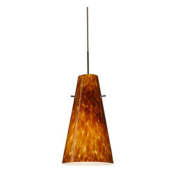 """Besa Lighting - Besa Lighting 1JC-412418 Cierro 1 Light Cord-Hung Mini Pendant - Cierro is a softly tapered narrow cylinder, creating a refined contemporary look. Our Amber Cloud glass is full of floating, vibrant warm tones that range from light gold to deep amber. When lit, the humid color palette illuminates to exude a harmonious display. This decor is created by rolling molten glass in small bits of brown hues called frit. The result is a multi-layered blown glass, where frit color is nestled between an opal inner layer and a clear glossy outer layer. This blown glass is handcrafted by a skilled artisan, utilizing century-old techniques passed down from generation to generation. Each piece of this decor has its own artistic nature that can be individually appreciated. The cord pendant fixture is equipped with a 10' SVT cordset and an """"Easy Install"""" dome monopoint canopy.Features:"""