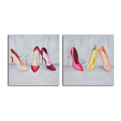 Double-trouble shoeshining Hand Painted 2 Piece Canvas Set - A gal can never have too many pairs of shoes, right? Why not display a hand-painted nod to your favorite obsession? Hang these side-by-side in your living room or bedroom for a playful reminder of fashion's most important accessory.