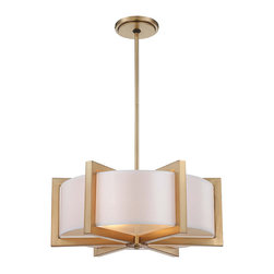 Frontgate - Metropolitan 4-Light Pendant - Provides ample illumination while making a brilliant accent for a dining room, hallway, bedroom, or foyer. Honey gold finish. UL listed for dry locations. Includes tempered glass diffuser. Takes four maximum 100-watt or equivalent medium base bulbs. The Metropolitan 4-light Pendant radiates warmth and style with its distinctive honey gold finish. The tempered glass diffuser beneath the white fabric shade gives a soft, luminous glow. This beautiful piece works with a variety of decor schemes - from transitional to modern to classic.  .  .  .  .  .