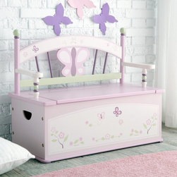 Levels of Discovery - Levels of Discovery Sugar Plum Toy Box Bench Multicolor - LOD70004 - Shop for Childrens Toy Boxes and Storage from Hayneedle.com! No one sits higher than the queen and with the Sugar Plum Toy Box Bench your little tot can keep her stuffy subjects in line beneath her. This adorable toy box will have your little girl sitting pretty. It features a beautiful bench top in shades of plum and pink with green and ivory accents. Inside a spacious storage area will help keep her room or play area well-organized. A dainty butterfly and floral motif will add charm to any setting.Additional Dimensions:Interior dimensions: 30L x 14W x 10.5H in.Exterior dimensions: 32L x 16W x 12H in.Weight capacity: 100 lbs.About Levels of DiscoveryAfter spending years as a product developer and president for companies like Enesco the Franklin Mint and Hallmark Jeff Hutsell decided to devote himself to creating innovative unique and fun furnishings made especially for children. The resulting company Levels of Discovery now strives to design pieces that are more than simply pieces of heirloom-quality furniture. Each piece features unexpected details that will surprise and delight children and parents alike. Playful themes and hidden features like music boxes picture frames or time-out timers elevate rocking chairs benches tables and other pieces into treasured works of art that will define your youngster's childhood. The end results are beautiful hand painted masterpieces that are sure to become instant family treasures.