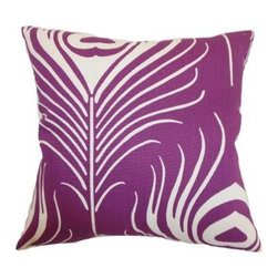 The Pillow Collection Lamassa Peacock Pillow - You'll be as proud as a, well, you know, when you display The Pillow Collection Lamassa Peacock Pillow in your stylish home. Made of 100% soft and durable cotton, this modern square pillow features a plush 95/5 feather/down insert for cushiony softness. The bold feather graphic gives a distinctly contemporary appeal while your choice of color options let you customize the look.About The Pillow CollectionIdentical twin brothers Adam and Kyle started The Pillow Collection with a simple objective. They wanted to create an extensive selection of beautiful and affordable throw pillows. Their father is a renowned interior designer and they developed a deep appreciation of style from him. They hand select all fabrics to find the perfect cottons, linens, damasks, and silks in a variety of colors, patterns, and designs. Standard features include hidden full-length zippers and luxurious high polyester fiber or down blended inserts. At The Pillow Collection, they know that a throw pillow makes a room.