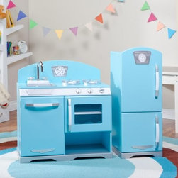 KidKraft 2 Piece Blue Retro Play Kitchen - This old-fashioned style of the KidKraft Pink Retro Kitchen and Refrigerator in blue will transport you and your child to the not-so-distant past. With sturdy wood construction and many functional details the pretend stove oven sink dishwasher and fridge will have young chefs whipping up culinary masterpieces in no time and begging to help out in the real kitchen! Recommended ages 2-5 years. About KidKraftKidKraft is a leading creator manufacturer and distributor of children's furniture toy gift and room accessory items. KidKraft's headquarters in Dallas Tex. serves as the nerve center for the company's design operations and distribution networks. With the company mission emphasizing quality design dependability and competitive pricing KidKraft has consistently experienced double-digit growth. It's a name parents can trust for high-quality safe innovative children's toys and furniture.
