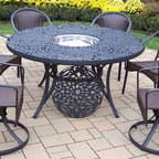 Oakland Living - 8-Pc Outdoor Dining Set - Includes one table, two resin wicker swivel chairs, four resin wicker stackable dining chairs, stainless steel ice bucket and metal hardware. Handcast. Traditional lattice pattern and scroll work. Fade, chip and crack resistant. Umbrella hole table top. Hardened powder coat. Warranty: One year limited. Made from rust free cast aluminum, steel and resin wicker. Black color. Minimal assembly required. Chair: 23.25 in. W x 25.5 in. D x 34 in. H (14 lbs.). Swivel chair: 23.25 in. W x 25.5 in. D x 34 in. H (24 lbs.). Table: 60 in. Dia. x 29 in. H (70 lbs.). Overall weight: 180 lbs.This dining set is the prefect piece for any outdoor dinner setting. Just the right size for any backyard or patio. The Oakland Tuscany Collection combines southern style and modern designs giving you a rich addition to any outdoor setting.