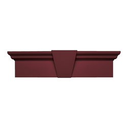Builders Edge - Vinyl Flat Panel Window Header with Keystone - Choose Size: 65.625 in. W x 9 in. D x 3.75 in. H (6.01 lbs.)Can be trimmed to fit window width, cuts can be hidden with the included keystone. Installs fast and easy on any surface. Constructed with color molded-through so they will not scratch, flake, or fade. Durable, maintenance-free U.V. stabilized, deep wood grain texture. Made in the USA. Header size represents the bottom width of the header and should be the width of your window frame