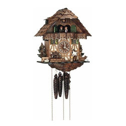 Schneider Cuckoo Clocks - Black Forest One-Day Antique 13-Inch Cuckoo Clock - -Fitted with a 1-day rack strike movement no. 25 with strike and cuckoo call on the half and full hour  -Handpainted wooden dancing braun, with manual shut-off lever for strike, cuckoo call and music, wood chopper  -Musical Swiss movement playing two different melodies and a total of 22 notes  -Wooden dial and wooden hands  -Manufactured in Germany Schneider Cuckoo Clocks - MT 565/9