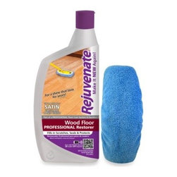 For Life Products, Inc. - Rejuvenate 32-Ounce Professional Satin Finish for Wood Floors - This Professional Restorer with from Rejuvenate is a urethane-based floor finish that works on almost any kind of hardwood flooring. Instantly fills in scratches, bringing back shine and protecting against stains and UV rays that cause fading.