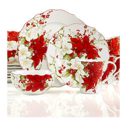222 Fifth Holiday Winter Harmony 16-Piece Set - This 16-piece set from Macy's is a steal! Use the mugs to serve your favorite Starbucks coffee, the soup bowls for a crunchy mixed-nut cereal and the salad plates for a fat slice of banana bread.