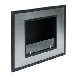 Bellezza Mini Recessed Bio Ethanol Fireplace by Ignis - Bellezza Mini provides a sophisticated and streamlined aesthetic to any space using stainless steel trimmed in contrasting black. This fireplace offers an eco-friendly flame that is odorless. Bio Ethanol, an alternative fuel source produced from plants, only emits water vapor and carbon dioxide into the air, therefore no chimney or flue is needed. Although ethanol fireplaces aren't intended for use as a primary heat source, the Bellezza Mini model produces approximately 6,000 btu with the help of its stainless burner, which will change the noticeable temperature in a room of 200-250 square feet. For aesthetic appeal and safety, this fireplace includes a piece of tempered glass that is situated in front of the flame. Appropriate for any space, Bellezza Mini can be mounted on the wall using the included hardware or recessed into the wall with minor construction for added dramatic effect.