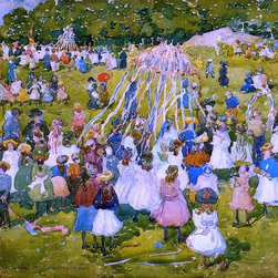 """Maurice Prendergast A May Day, Central Park - 16"""" x 24"""" Premium Archival Print - 16"""" x 24"""" Maurice Prendergast A May Day, Central Park premium archival print reproduced to meet museum quality standards. Our museum quality archival prints are produced using high-precision print technology for a more accurate reproduction printed on high quality, heavyweight matte presentation paper with fade-resistant, archival inks. Our progressive business model allows us to offer works of art to you at the best wholesale pricing, significantly less than art gallery prices, affordable to all. This line of artwork is produced with extra white border space (if you choose to have it framed, for your framer to work with to frame properly or utilize a larger mat and/or frame).  We present a comprehensive collection of exceptional art reproductions byMaurice Prendergast."""
