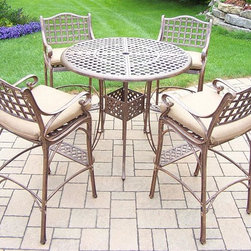 Oakland Living - 5-Pc Outdoor Round Bar set - Includes bar table with umbrella opening and four bar stools with spounpoly cushions. Fade, chip and crack resistant. Traditional lattice pattern. Metal hardware. Warranty: One year. Made from rust-free cast aluminum. Antique bronze hardened powder coat finish. Minimal assembly required. Table: 42 in. Dia. x 44 in. H (60 lbs.). Stool: 21.5 in. W x 22 in. D x 46 in. H (47 lbs.)This five piece Bar Set will be a beautiful addition to your patio, balcony or outdoor entertainment area. Bar sets are perfect for any small space, or to accent a larger space. The Oakland elite collection combines old world charm and modern designs giving you a rich addition to any outdoor setting. Each piece is hand cast and finished for the highest quality possible.
