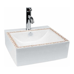 The Renovators Supply - Vessel Sinks White Square Plaza Painted Vessel Sink | 13392 - Square Vessel Sinks. Vessel Sinks Above Counter: Made of Grade A vitreous China these sinks easily endure daily wear and tear. Our protective RENO-GLOSS finish resists common household stains and makes it an EASY CLEAN wipe-off surface. Ergonomic and elegant easy reach design reduces daily strain placed on your body. SPACE-SAVING design maximizes limited bathroom space. Easy, above counter installation let's you select from many countertop designs, sold separately. Measures 18 1/2 inch W x 18 1/2 inch projection