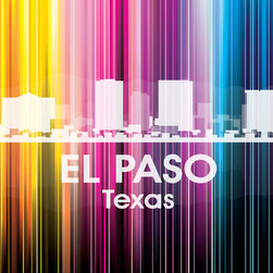 El Paso TX Vertical Lined Rainbow Print - Proud of El Paso? Then let it be known in your decor. Digital and photographic layering go into this white-on-wow print representing your favorite city's skyline — what a fun way to pay tribute to your town!