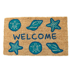 Entryways - Shells Welcome Hand Woven Coconut Fiber Doormat - Single Doormat, hand-woven, hand-painted, hand-stenciled, fade resistant, natural coir (coconut fiber), durable, best location is covered area, shake or sweep clean.