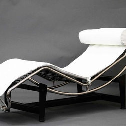 Le Courbusier White Chaise Lounge - This leather chaise lounger features a full range of reclining positions for you to enjoy. A Pony cowhide version is also available. The sturdy frame is made of ultra-premium Stainless Steel polished to a mirror finish. Base frame in black steel finish features rubber gripping pads for easy and safe positioning of chaise in desired position. The surface is a soft high grade Aniline Protected leather, which provides you comfort and long lasting quality. Our leather offers a supple feel. The Corbusier chaise makes a great addition to your modern living style. This Corbusier Chaise Lounge is a high quality reproduction of the original modern classic.