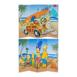 Oriental Furniture - 4 ft. Tall Double Sided Simpson Family Vacation Canvas Room Divider - Authentic cartoon animator's graphic art images of Bart, Lisa and Maggie with Marge and Homer on surfing safari in the Simpson's iconic woody station wagon. Rich color and crisp detail make this special edition low rise panel screen perfect for a child size room divider, decorative background, or for a large Simpsons wall decor.