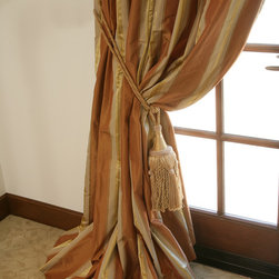 Custom Drapery & Roman Shades by DrapeStyle - Striped Silk Taffeta Custom Drapery in Milano Lucia by DrapeStyle.