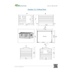 Paradise 12 x 10 Wood Shed / Pool House - ECO Garden Sheds. All natural wood 12 x 10 Traditional pool house / wood shed -- Paradise. 12 x 10 Wood Shed. Blueprints