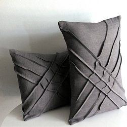 yorktown road - x - pleat accent pillow - Hand dyed linen.