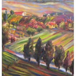 Hillside Dreams (Original) by Dixie Galapon - This piece is reminiscent of my time in Tuscany. It's amazing how beautiful it is over there. I really enjoy the movement of the brushstrokes in this painting.