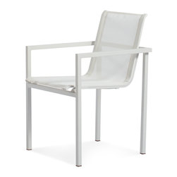 Blu Dot - Blu Dot Skiff Outdoor Stacking Chair - Clean, minimalist lines make these patio chairs an ideal addition to your backyard set-up. The white-on-white look keeps your garden looking fresh no matter the weather.