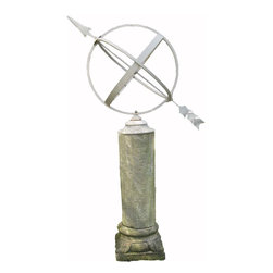 R.T. Facts - Large Armillary with Stone Column Base - A lovely large iron Armillary. Perfect fr any garden space. The base has a lovely moss, and adds a flowy natural motif to pair with the industrial iron.