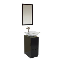 Fresca - Brilliante Espresso Vanity w/ Mirror Fortore Chrome Faucet - The Brilliante Vanity comes with a gorgeous espresso wood finish.  The clear glass basin with simple chrome hardware and compact storage solutions makes this piece great for a small bathroom.  Simple in design and size.  Many faucet styles to choose from.
