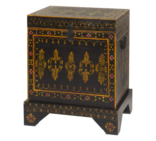 Everybody's Ayurveda - Footed Wooden Red Hand Painted Trunk In Mango Wood - Red Hand Painted Almirah. Mango Wood. Made in India. Hand crafted in India, this beautiful cabinet is hand painted red with black accents and floral patterns. Doors open to reveal interior shelving. A slim profile makes this cabinet easy to fit in to entryways, halls or dining areas.Package Includes:Wooden Trunk OnlyDimensions:Width: 13.75 inch