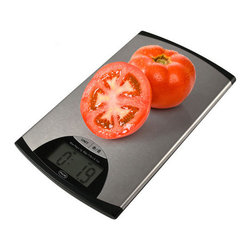 "American Weigh Scales - Super Thin Digital Scale Stainless Steel - Stainless Steel digital kitchen scale, super thin (.5""), 4-G force load cells for accuracy on uneven surfaces, 11lb capacity/ .1oz graduation, easy to read LCD display (1""x2.3""), platform size5.9""x9"", 10 year warranty, 2-CR2032 Lithium batteries included, Stainless Steel finish"