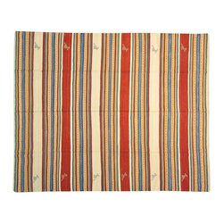 Striped Area Rug, Hand Woven 8'X10' Flat Weave Qashqai Kilim Rug SH13401 - Soumaks & Kilims are prominent Flat Woven Rugs.  Flat Woven Rugs are made by weaving wool onto a foundation of cotton warps on the loom.  The unique trait about these thin rugs is that they're reversible.  Pillows and Blankets can be made from Soumas & Kilims.