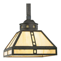 Progress Lighting - Progress Lighting P5020-46 Arts And Crafts 1 Light Mini Pendants in Weathered Br - One-light mini-pendant with light honey art glass inspired by earthy palette and geometric shapes of Frank Lloyd Wright.