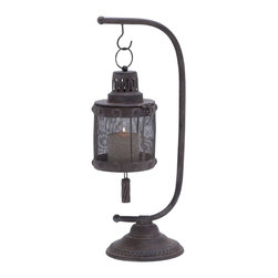 """Lantern with Disserted Finish with Tall Holder - Featuring a distinctive look, this Metal Lantern 23""""H, 8""""W is perfect for adding warmth and elegance to simple decor styles. The exquisite design of this lantern is ideal for lending a rustic, country cottage feel to different room settings. Lavished with a disserted finish, this metal lantern is supported by a simple, tall metal holder. The robust design of the lantern base is accented with a metal mesh that filters the light of the candle, and casts a delightful glow. The sturdy base of this metal holder flaunts a flat circular design, and is detailed with intricate carved accents for added visual appeal. Made out of solid metal, this lantern perfectly combines durability with lasting functionality. It is also an excellent choice of gift for your beloved ones.. It comes with following dimensions"""