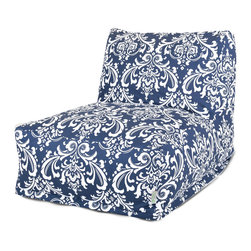 Majestic Home - Indoor Navy and White French Quarter Bean Bag Chair Lounger - Your style is laid-back — literally, with this awesome lounger. A beanbag upgraded to the next level, it offers the ultimate in comfort and easy-care convenience, since the slipcover zips off to toss in the wash.