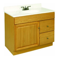 DHI-Corp - Claremont Honey Oak Vanity Cabinet with 1-Door and 2-Drawers - The Design House 532994 Claremont Honey Oak Vanity Cabinet features a honey oak finish with antique brass hardware. Perfect for a shabby chic or vintage inspired bathroom, this vanity has clean lines and concealed hinges. The 1-door, 2-drawer construction gives you plenty of storage to keep your countertop free of clutter. Measuring 36-inches by 18-inches by 31.5-inches, this vanity can fit into a medium sized bathroom. The frameless design provides ample storage and accessibility to store toiletries for the entire family. Modern construction meshes with subtle vintage details for an elegant addition to your bathroom. This product is perfect for remodeling your bathroom and matches granite countertops and colored walls. Vanity top is not included with this product. This vanity comes with cam-lock connectors for fast and easy assembly. The Design House 532994 Claremont Honey Oak Vanity Cabinet has a 1-year limited warranty that protects against defects in materials and workmanship. Design House offers products in multiple home decor categories including lighting, ceiling fans, hardware and plumbing products. With years of hands-on experience, Design House understands every aspect of the home decor industry, and devotes itself to providing quality products across the home decor spectrum. Providing value to their customers, Design House uses industry leading merchandising solutions and innovative programs. Design House is committed to providing high quality products for your home improvement projects.