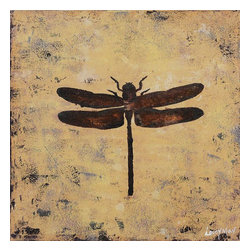 Ren-Wil - Portrait of a Dragonfly Square Painting - A rich brown dragon fly sits in the middle of the mustard yellow textured canvas creating the perfect Vertical of a dragonfly.