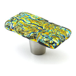 """Windborne Studios - Shimmer Glass Knobs and Pulls, Cyan, 1"""" X 2"""" - The """"Shimmer Collection"""" vibrantly sparkles."""