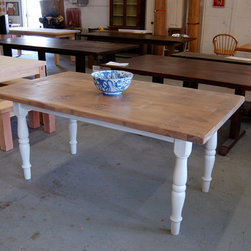 Farm Table with White Turned Legs - Farm Table finished with light walnut with White Washed Turned Legs
