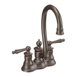Moen - Moen S612ORB Oil Rubbed Bronze High Arc Bar Faucet Two Lever Handle, ADA - The intricate charm of the Waterhill collection will instantly add character to your home. A range of products provide all the design features necessary to enrich your space.