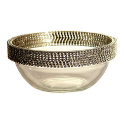 Alan Lee Collection - Princess Collection 5 Inch Bowl - This stunning 5 inch bowl is adorned with hand applied cut crystals along the top section. Versatile enough for just about anything from your favorite ice cream, rice puddings, candy bowl or just simply put a small votive in it.