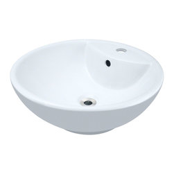 """MR Direct - MR Direct V2702-W White Porcelain Vessel Sink - The V2702-white porcelain vessel sink offers a unique, modern look for any bathroom. It is made from true vitreous China, which is triple glazed and triple fired to ensure your sink is durable and strong. Because this sink is a vessel, no mounting hardware is needed. The overall dimensions for the V2702-white are 18 1/8"""" Diameter x 7"""" Height and an 18"""" minimum cabinet size is required. Vessel sinks require a special spring-loaded pop-up drain, which we offer in a variety of finishes to fit your decor. As always, our porcelain sinks are covered under a limited lifetime warranty for as long as you own the sink."""