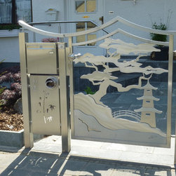 Stainless Steel Japanese and Asian Gate - Japanese bonsai gate with 3D effect side element with post box and newspaper passage. 3D being that the gates are built and textured layer for layer by hand and welded together so that front and back have identical visual effects. All gates are engineered such that they are very solid and stable. Our Gates and railings make wonderful accents to ones entrance as they change there look depending on the angle you stand to them. There lighting and reflection colour change also due to there lighting, grinding and layering techniques. These designed and custom built stainless steel functional works fit to each individual customer and there needs. Construction is a combination from 3 and 5mm 304 Stainless steel. 316L alloy available at an adjusted price. Inc. all necessary hardware for installation on existing posts or walls.  Not inc. handling and shipping.