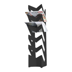 Radius Design - News Stand, Black - The standing newspaper holder has space for up to 30 newspapers.
