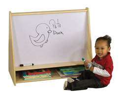 Ecr4kids - Ecr4Kids Birch Pic-A-Book Stand With Dry-Erase Board - 2-sided book stand with 5 book shelves on one side, and a write-n-wipe board with storage cubbie on the other.