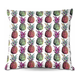 DiaNoche Designs - Pillow Woven Poplin from DiaNoche Designs by Organic Saturation - Pineapple Part - Toss this decorative pillow on any bed, sofa or chair, and add personality to your chic and stylish decor. Lay your head against your new art and relax! Made of woven Poly-Poplin.  Includes a cushy supportive pillow insert, zipped inside. Dye Sublimation printing adheres the ink to the material for long life and durability. Double Sided Print, Machine Washable, Product may vary slightly from image.