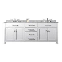 Water Creation Madison Solid White Double Sink Bathroom Vanity -
