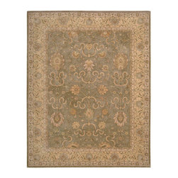 """Nourison - Nourison Heritage Hall HE20 3'9"""" x 5'9"""" Green Area Rug 58226 - Graceful traditional floral motifs weave their magic across a sensual field of delicate green and gold in this fabulous, Persian-influenced design. Its beauty and charm are deepened by the rich patina and lush, dense pile that make this rug a pleasure to own."""